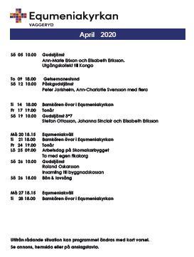 Program för april! Reviderat!