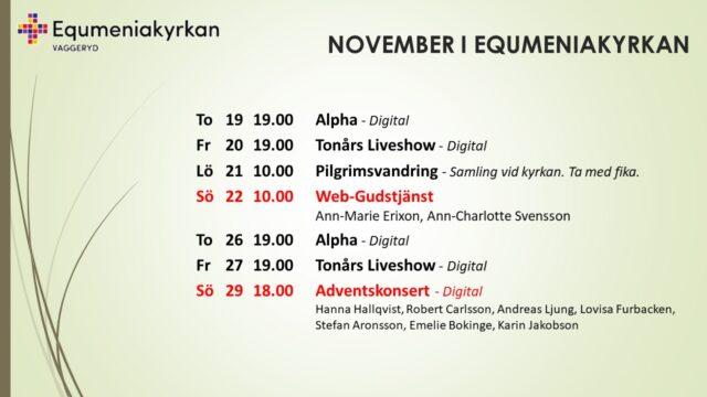 Uppdaterat program för november