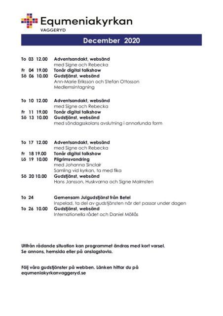 Program för December