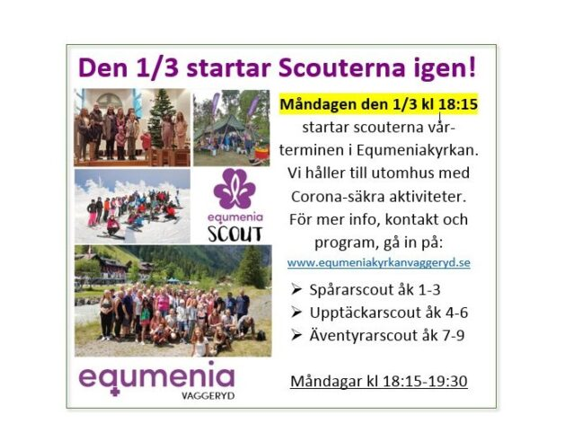 Den 1/3 startar Scouterna igen!