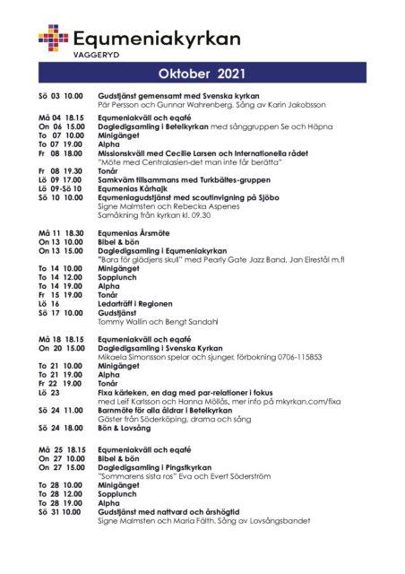 Program för oktober